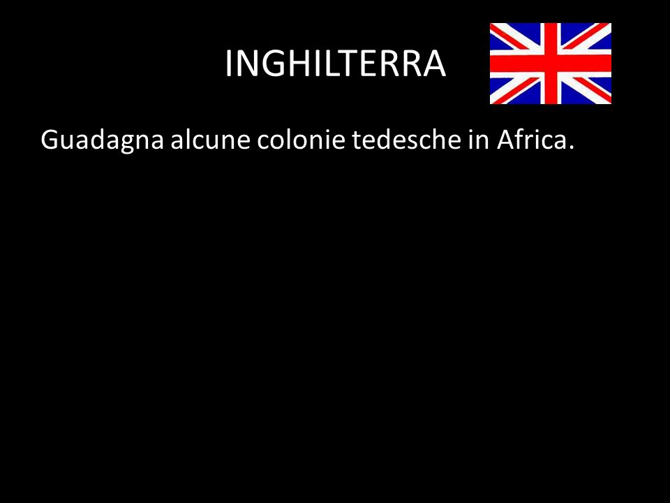 INGHILTERRA Guadagna alcune colonie tedesche in Africa.