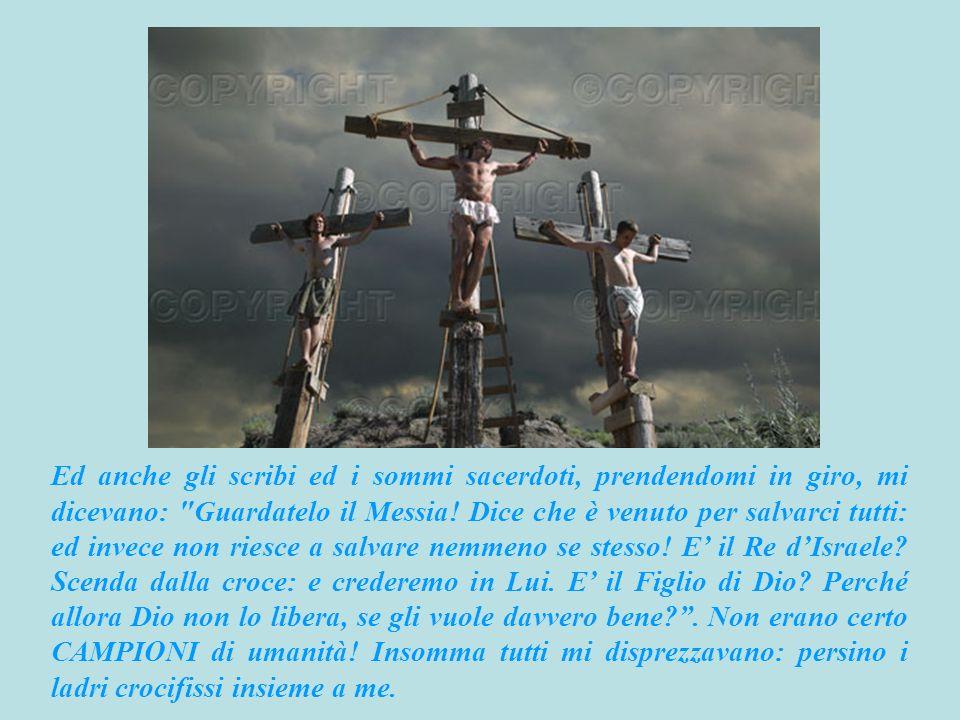 Ed anche gli scribi ed i sommi sacerdoti, prendendomi in giro, mi dicevano: Guardatelo il Messia.