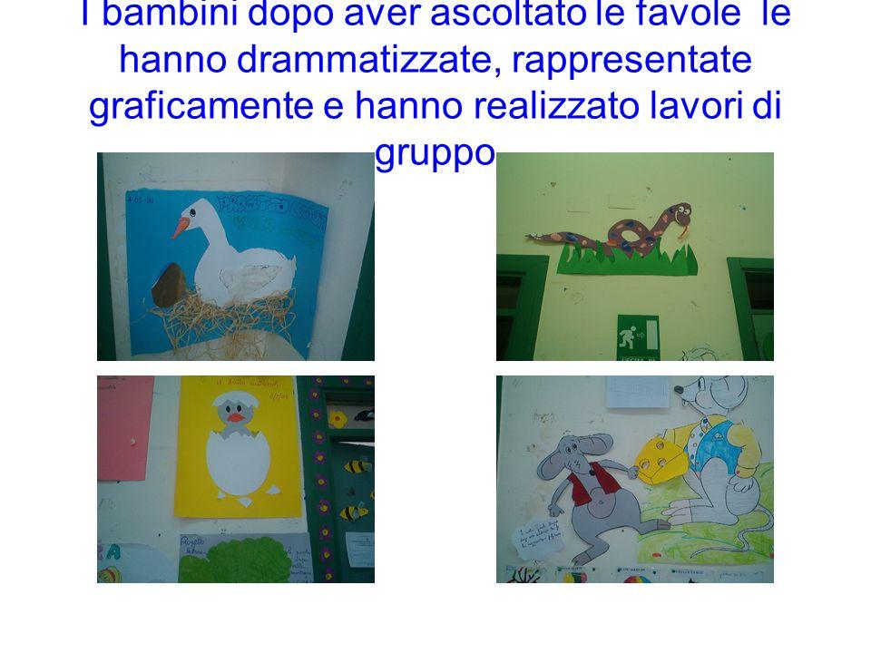 I bambini dopo aver ascoltato le favole le hanno drammatizzate, rappresentate graficamente e hanno realizzato lavori di gruppo