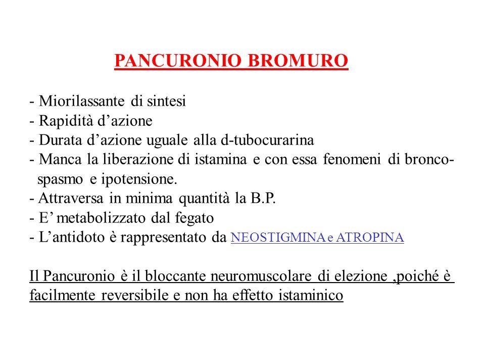 PANCURONIO BROMURO - Miorilassante di sintesi. - Rapidità d'azione. - Durata d'azione uguale alla d-tubocurarina.