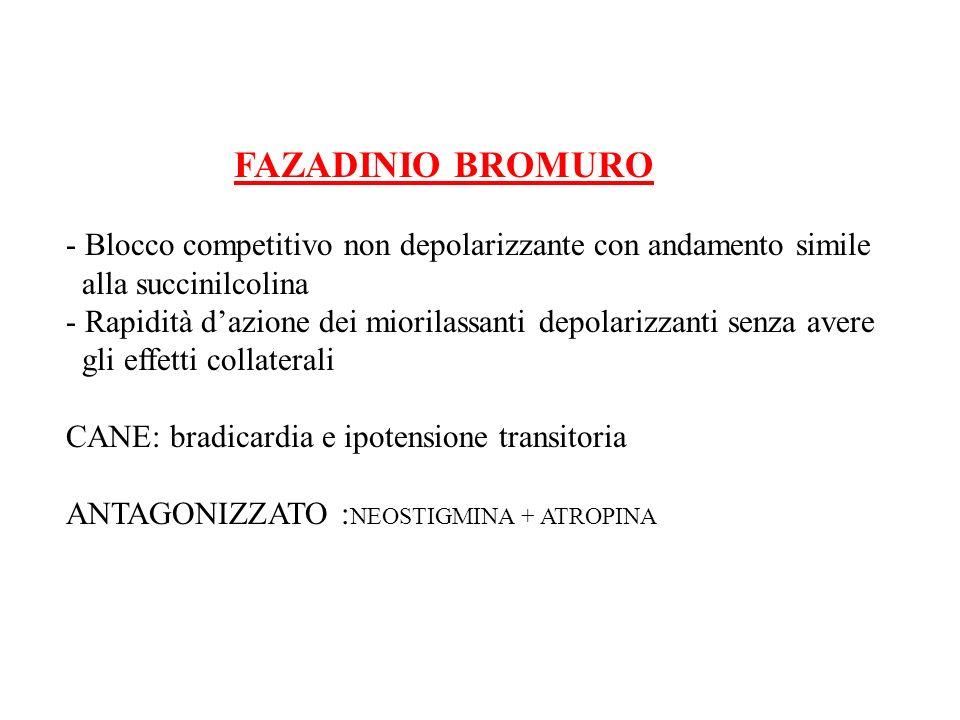 FAZADINIO BROMURO - Blocco competitivo non depolarizzante con andamento simile. alla succinilcolina.