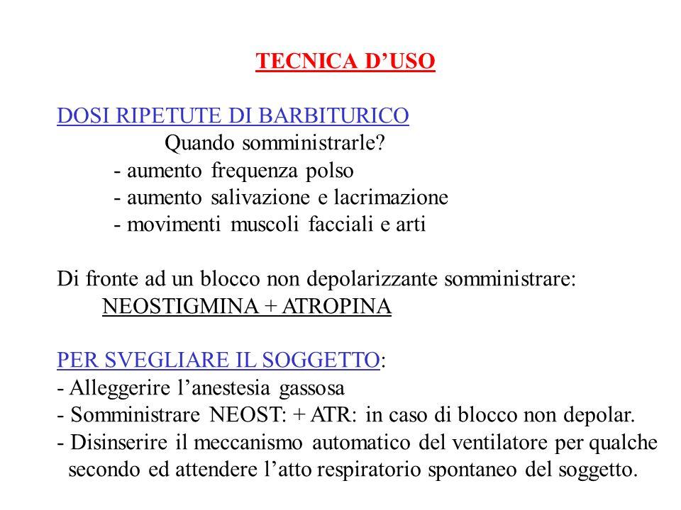 TECNICA D'USO DOSI RIPETUTE DI BARBITURICO. Quando somministrarle - aumento frequenza polso. - aumento salivazione e lacrimazione.