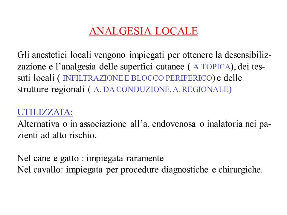 ANALGESIA LOCALE Gli anestetici locali vengono impiegati per ottenere la desensibiliz-