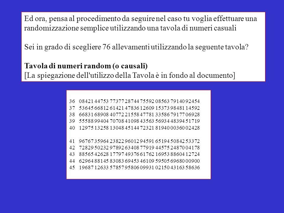 randomizzazione semplice utilizzando una tavola di numeri casuali