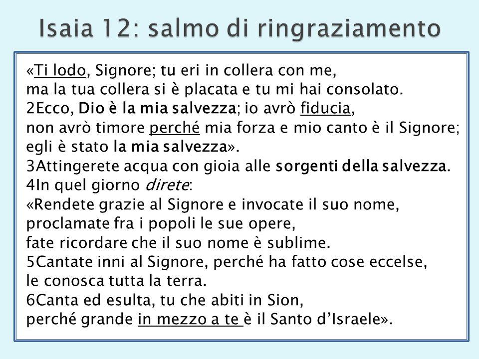 Isaia 12: salmo di ringraziamento