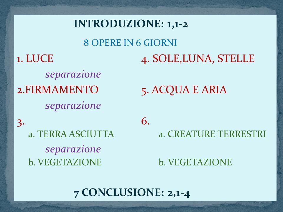 8 OPERE IN 6 GIORNI INTRODUZIONE: 1,1-2 1. LUCE 4. SOLE,LUNA, STELLE