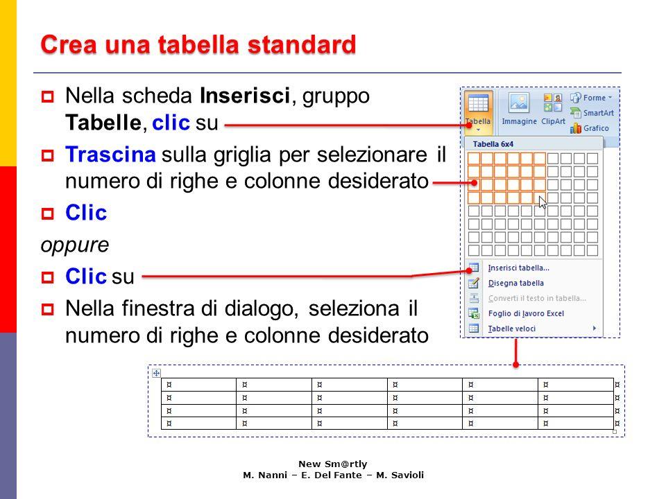Crea una tabella standard