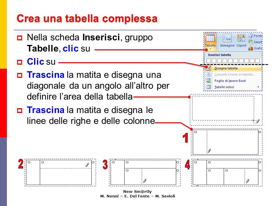 Crea una tabella complessa