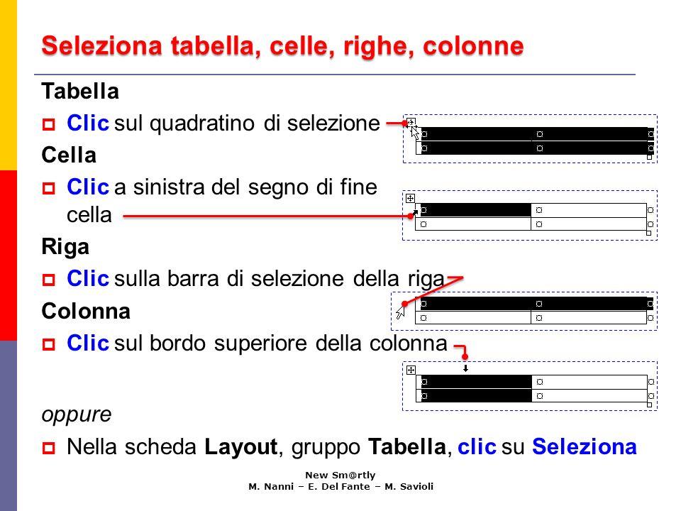 Seleziona tabella, celle, righe, colonne