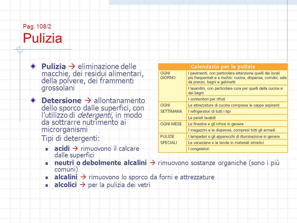 Pag. 108/2 Pulizia Pulizia  eliminazione delle macchie, dei residui alimentari, della polvere, dei frammenti grossolani.