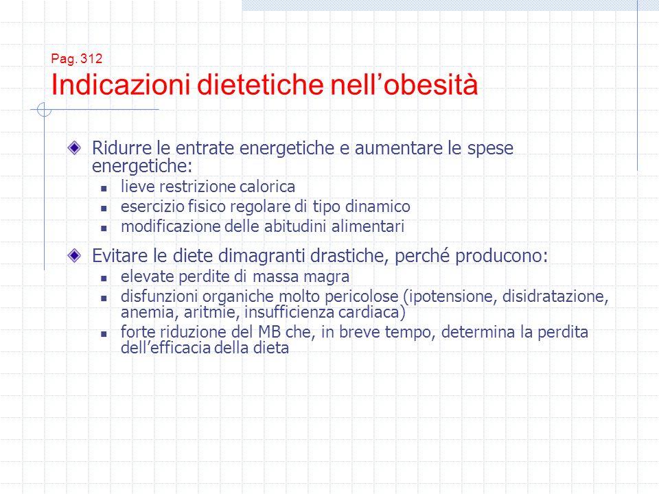 Pag. 312 Indicazioni dietetiche nell'obesità