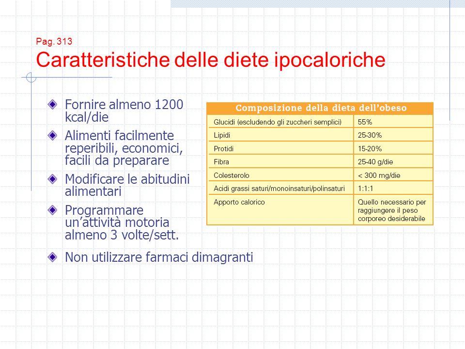 Pag. 313 Caratteristiche delle diete ipocaloriche