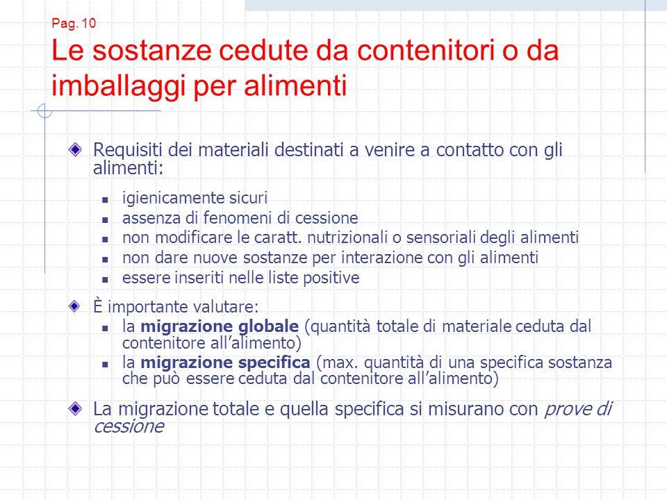 Pag. 10 Le sostanze cedute da contenitori o da imballaggi per alimenti