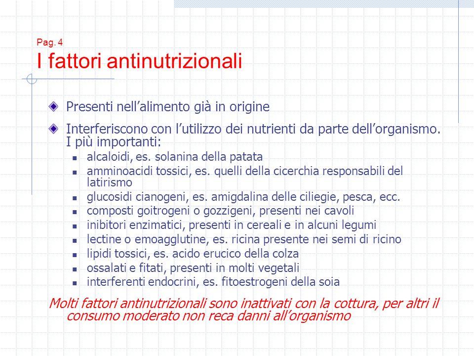 Pag. 4 I fattori antinutrizionali