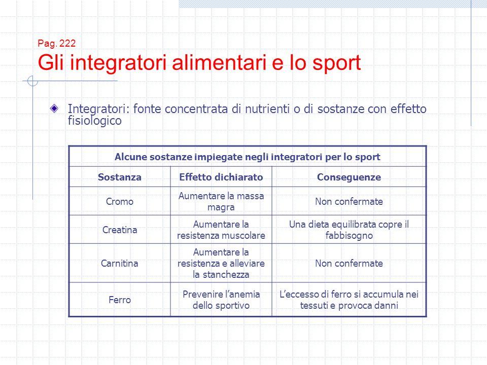 Pag. 222 Gli integratori alimentari e lo sport