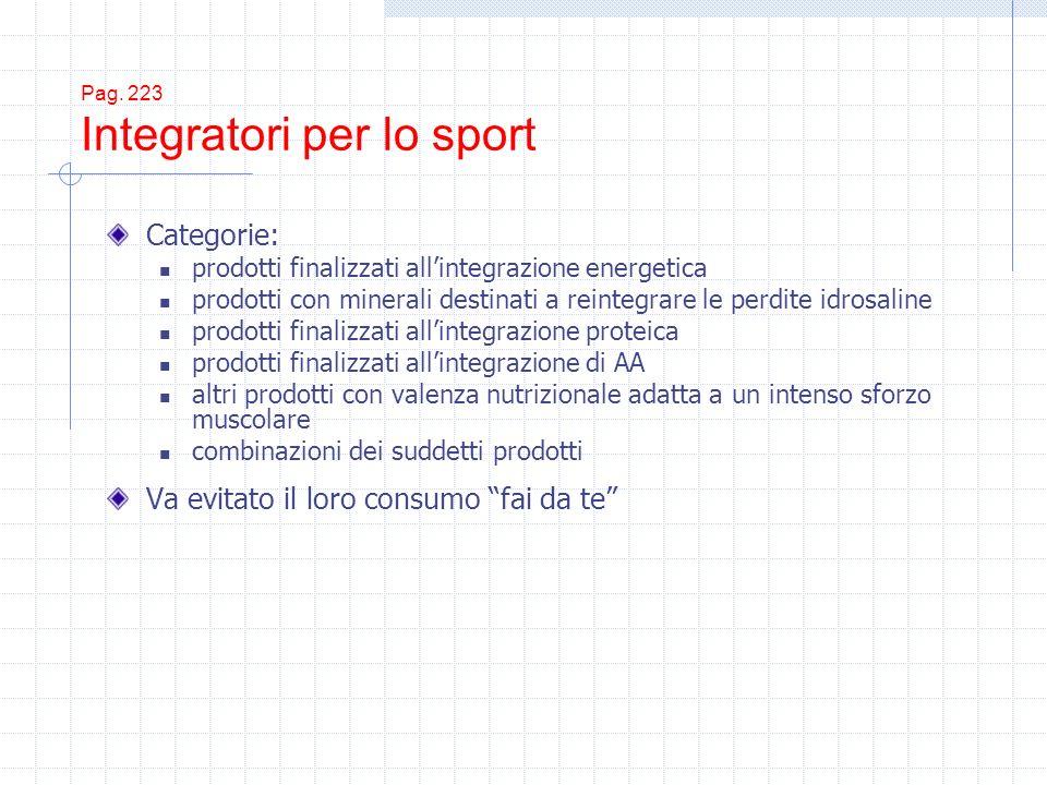 Pag. 223 Integratori per lo sport