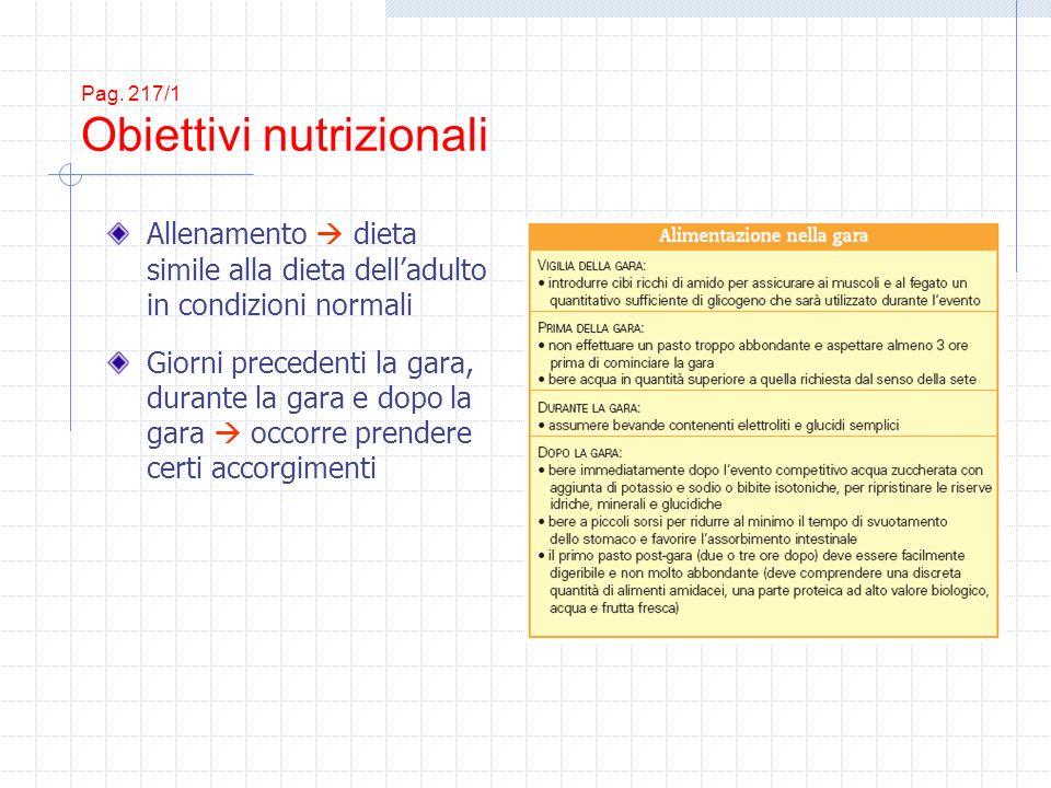 Pag. 217/1 Obiettivi nutrizionali