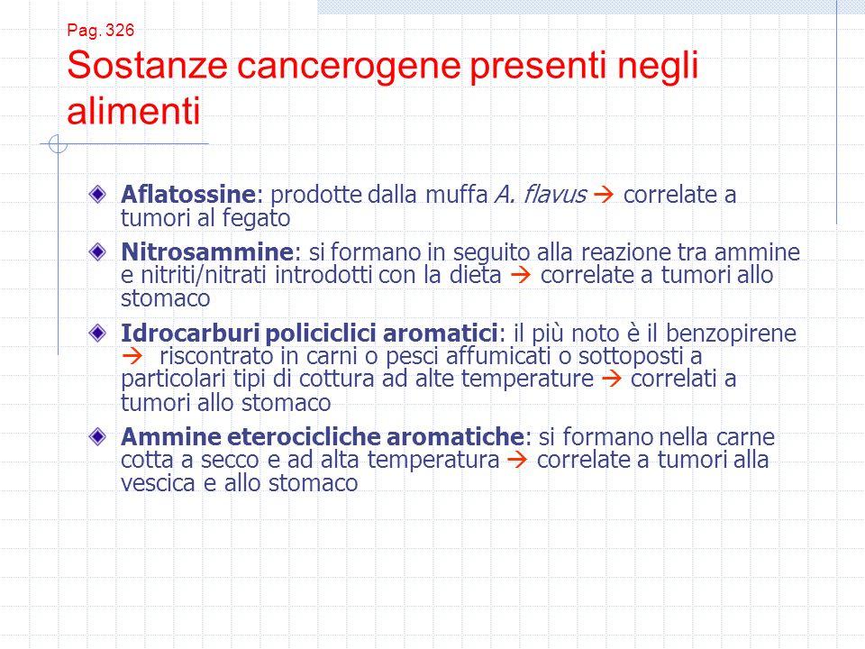 Pag. 326 Sostanze cancerogene presenti negli alimenti