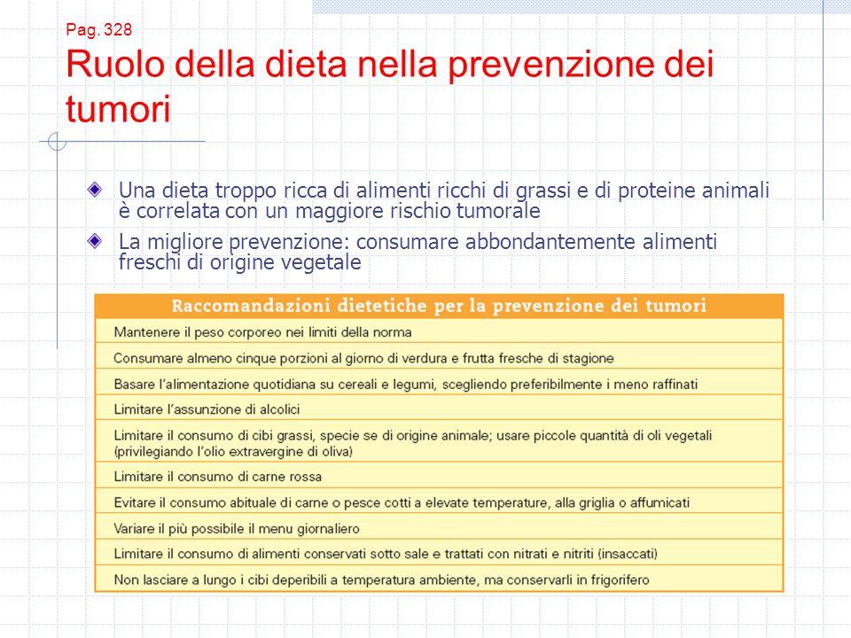 Pag. 328 Ruolo della dieta nella prevenzione dei tumori