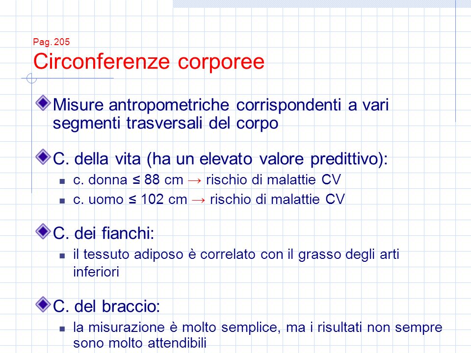 Pag. 205 Circonferenze corporee