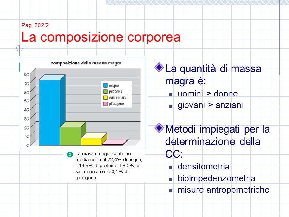 Pag. 202/2 La composizione corporea