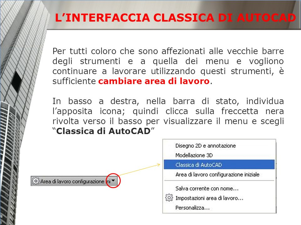 L'INTERFACCIA CLASSICA DI AUTOCAD