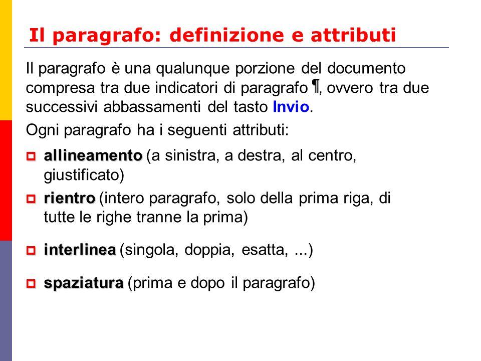 Il paragrafo: definizione e attributi