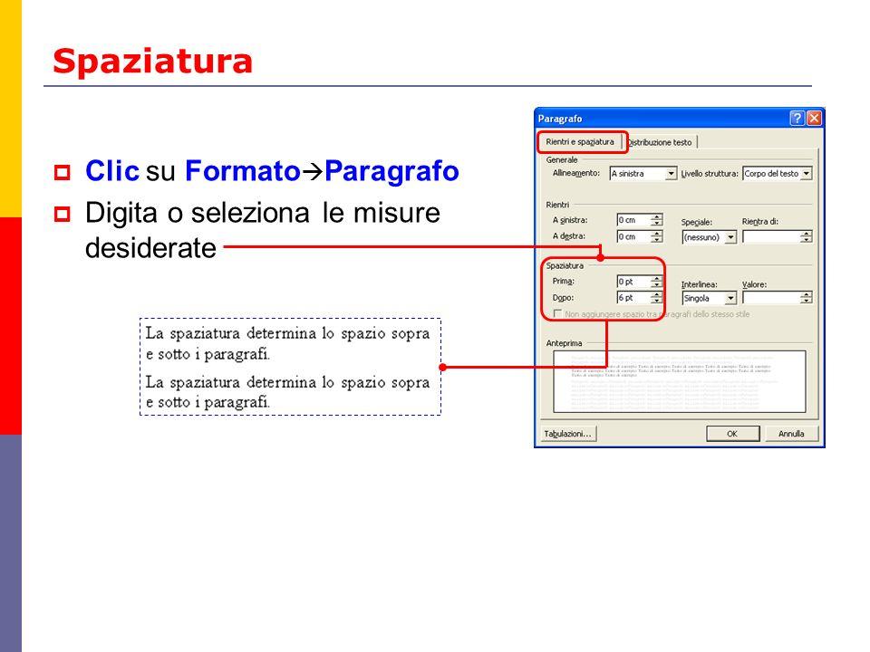 Spaziatura Clic su FormatoParagrafo