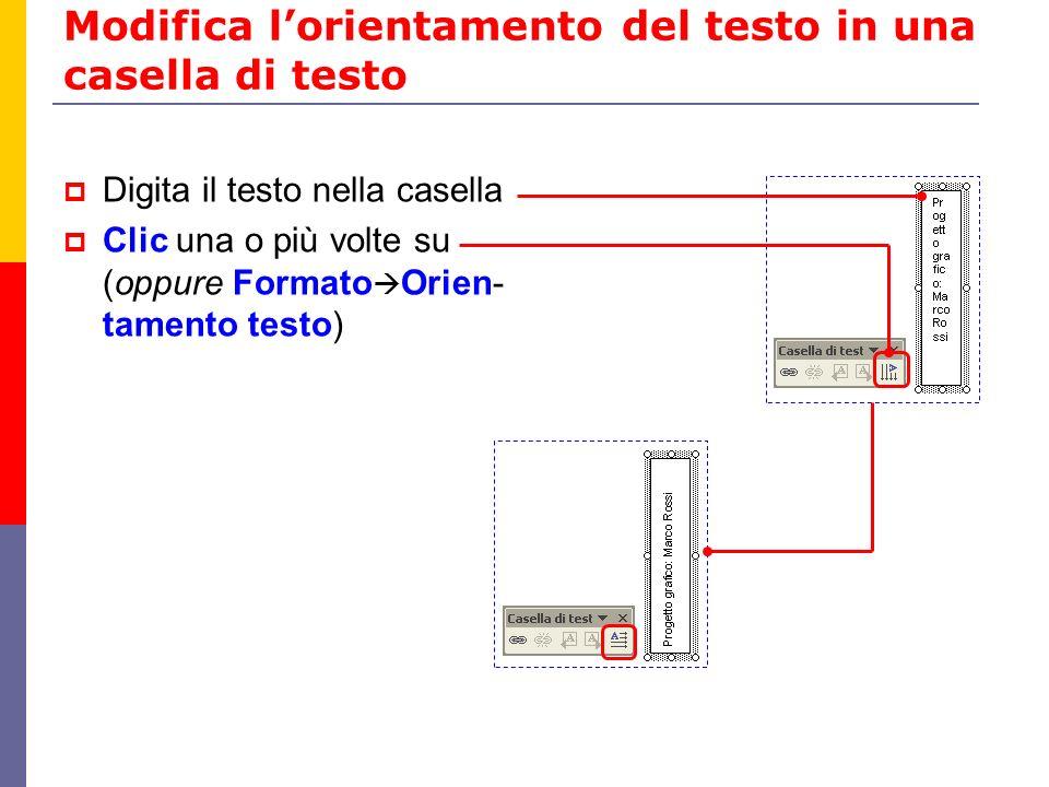 Modifica l'orientamento del testo in una casella di testo