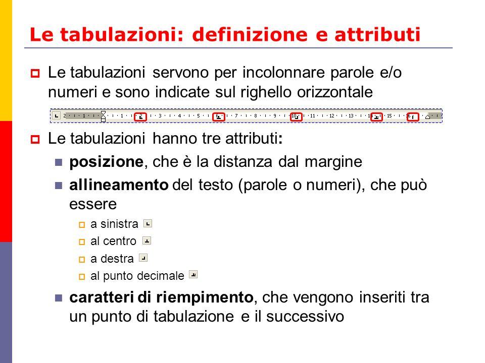 Le tabulazioni: definizione e attributi