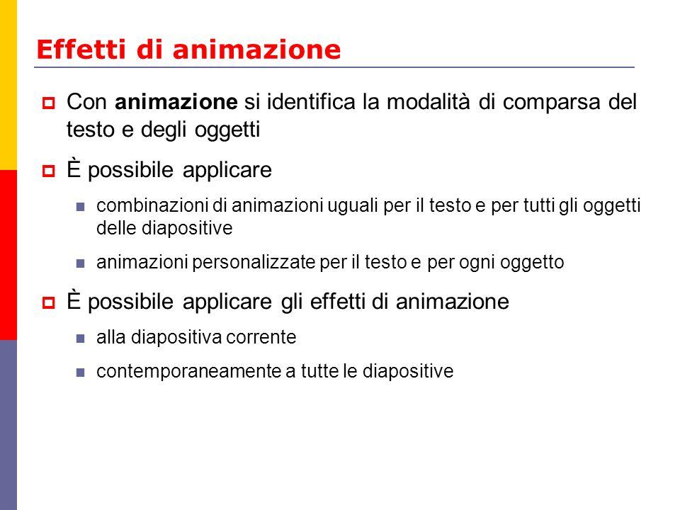 Effetti di animazione Con animazione si identifica la modalità di comparsa del testo e degli oggetti.