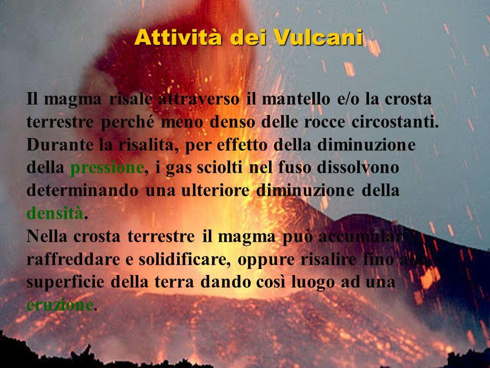 Attività dei Vulcani Il magma risale attraverso il mantello e/o la crosta terrestre perché meno denso delle rocce circostanti.