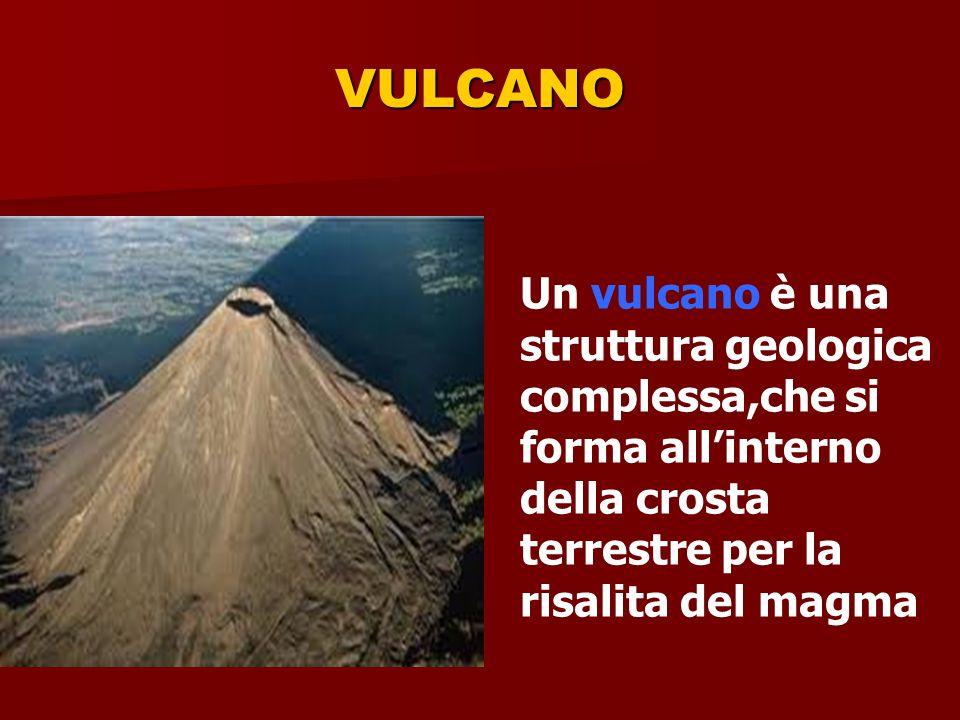 VULCANO Un vulcano è una struttura geologica complessa,che si forma all'interno della crosta terrestre per la risalita del magma.