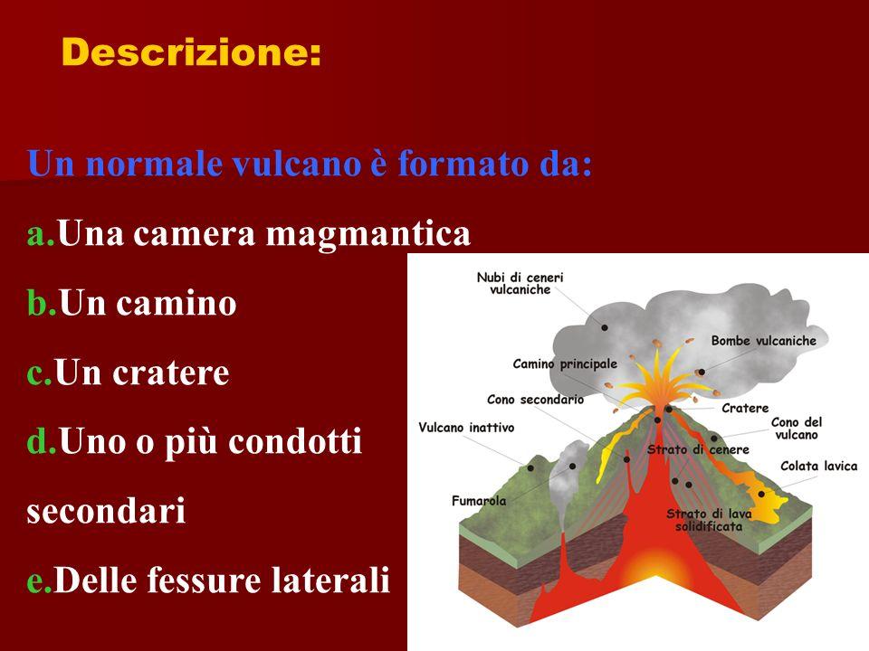 Descrizione: Un normale vulcano è formato da: a.Una camera magmantica. b.Un camino. c.Un cratere.