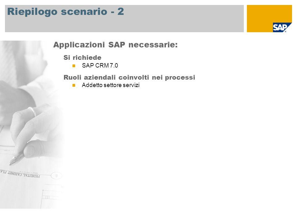 Riepilogo scenario - 2 Applicazioni SAP necessarie: Si richiede