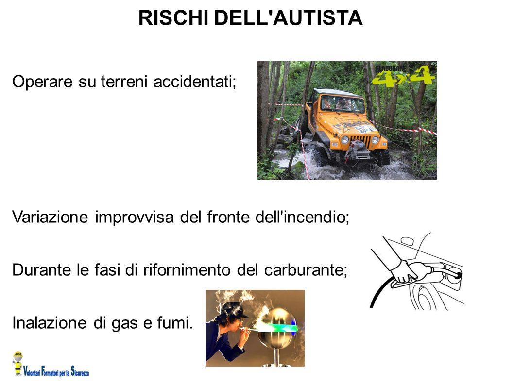 RISCHI DELL AUTISTA Operare su terreni accidentati;
