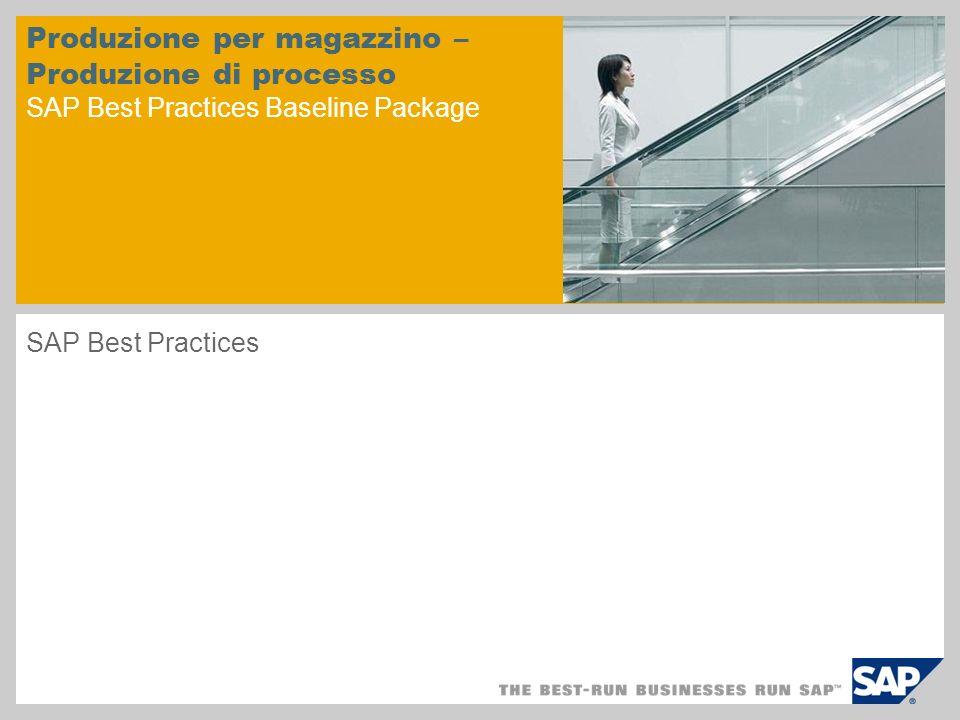 Produzione per magazzino – Produzione di processo SAP Best Practices Baseline Package