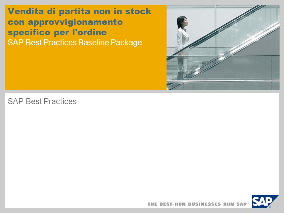Vendita di partita non in stock con approvvigionamento specifico per l ordine SAP Best Practices Baseline Package