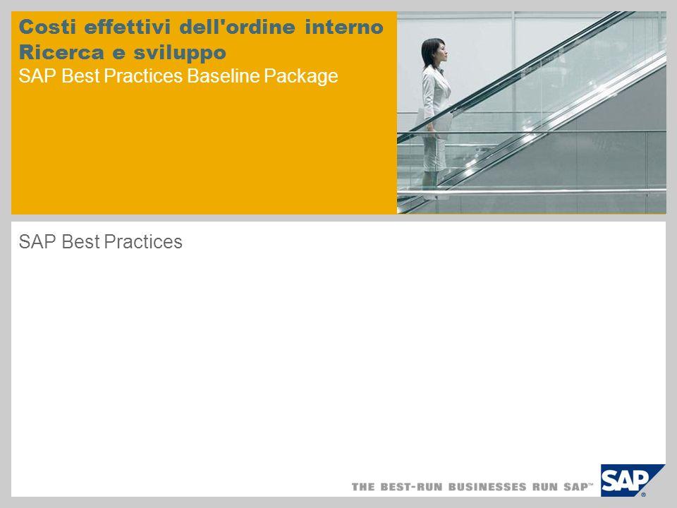 Costi effettivi dell ordine interno Ricerca e sviluppo SAP Best Practices Baseline Package