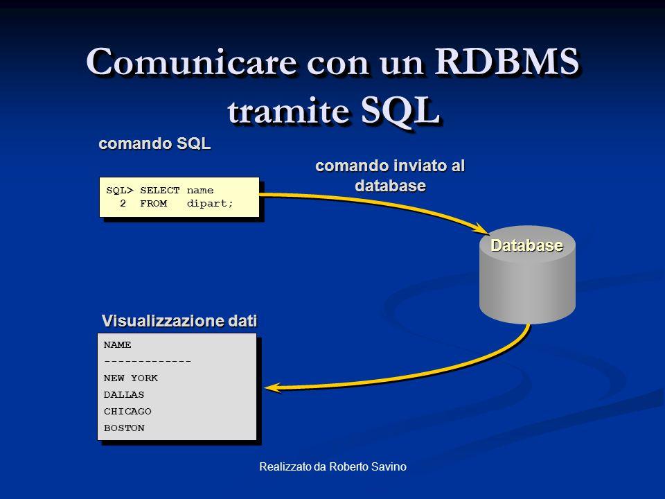 Comunicare con un RDBMS tramite SQL
