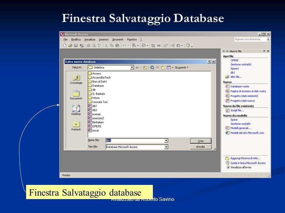 Finestra Salvataggio Database