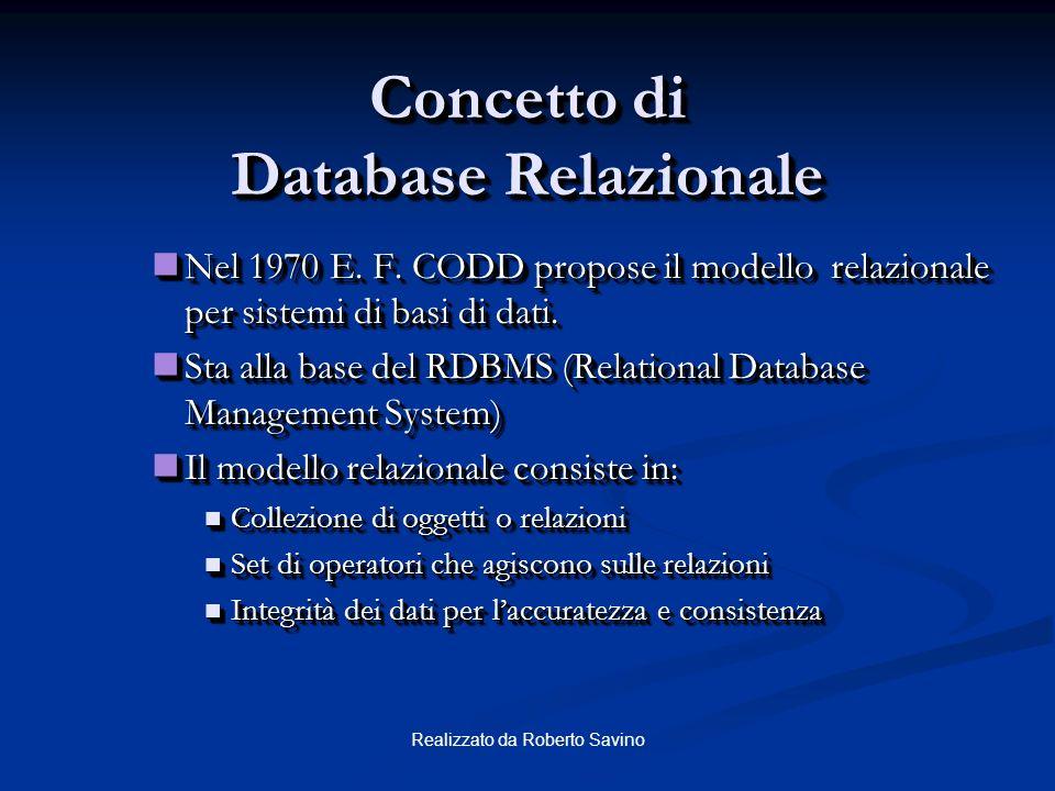Concetto di Database Relazionale