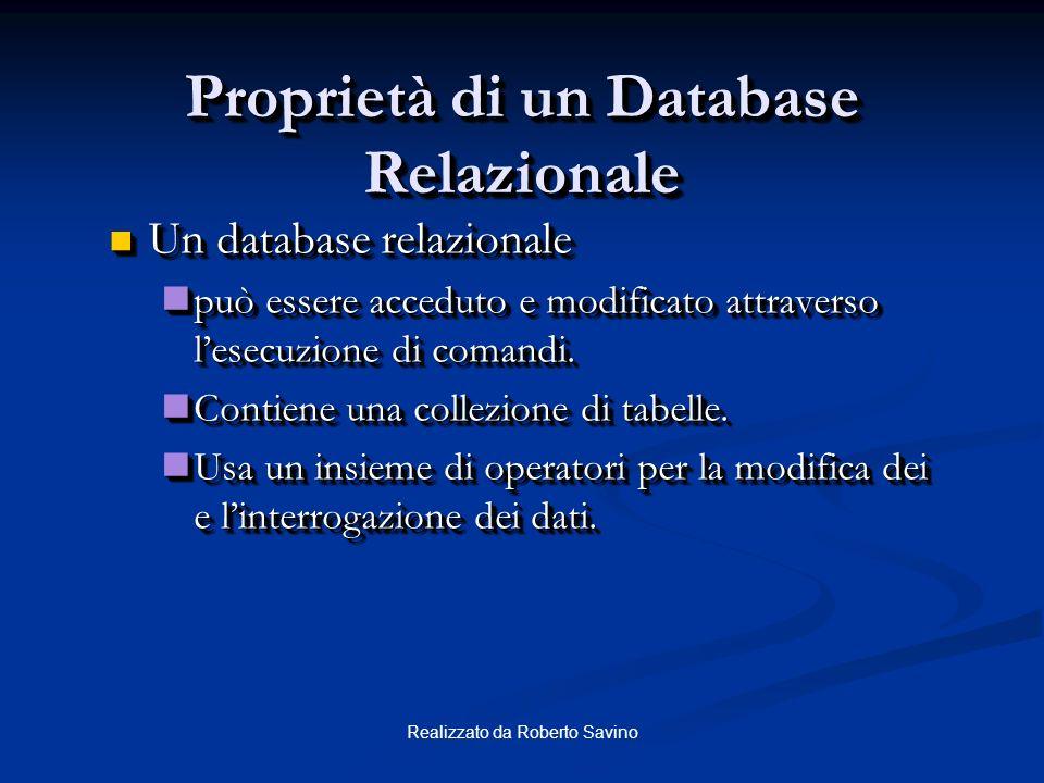 Proprietà di un Database Relazionale
