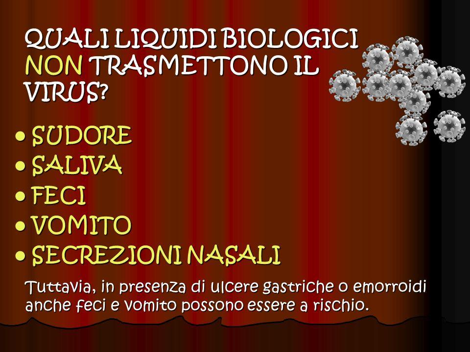 QUALI LIQUIDI BIOLOGICI NON TRASMETTONO IL VIRUS