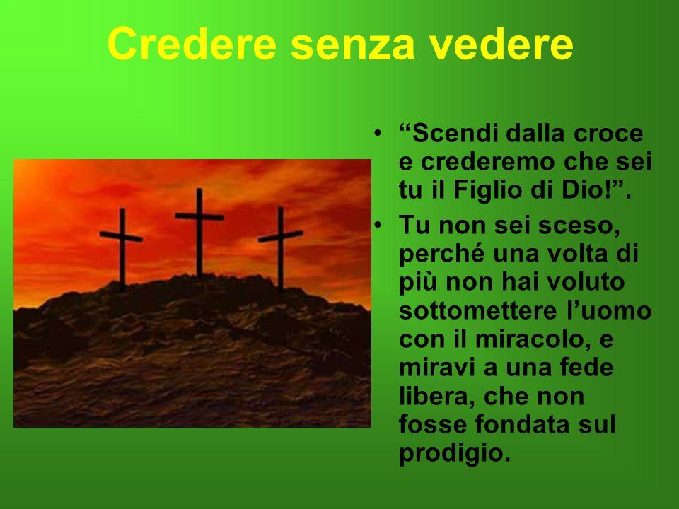 Credere senza vedere Scendi dalla croce e crederemo che sei tu il Figlio di Dio! .