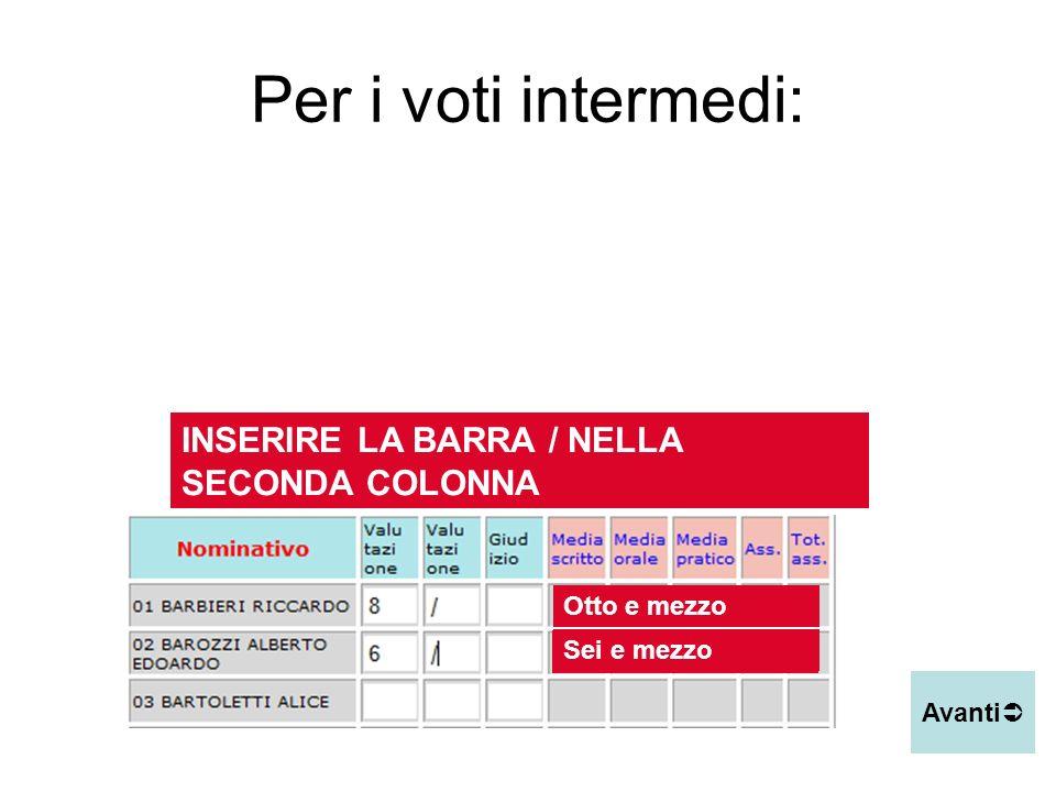 Per i voti intermedi: INSERIRE LA BARRA / NELLA SECONDA COLONNA
