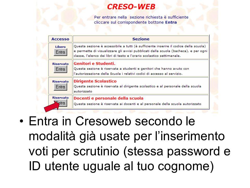 Entra in Cresoweb secondo le modalità già usate per l'inserimento voti per scrutinio (stessa password e ID utente uguale al tuo cognome)