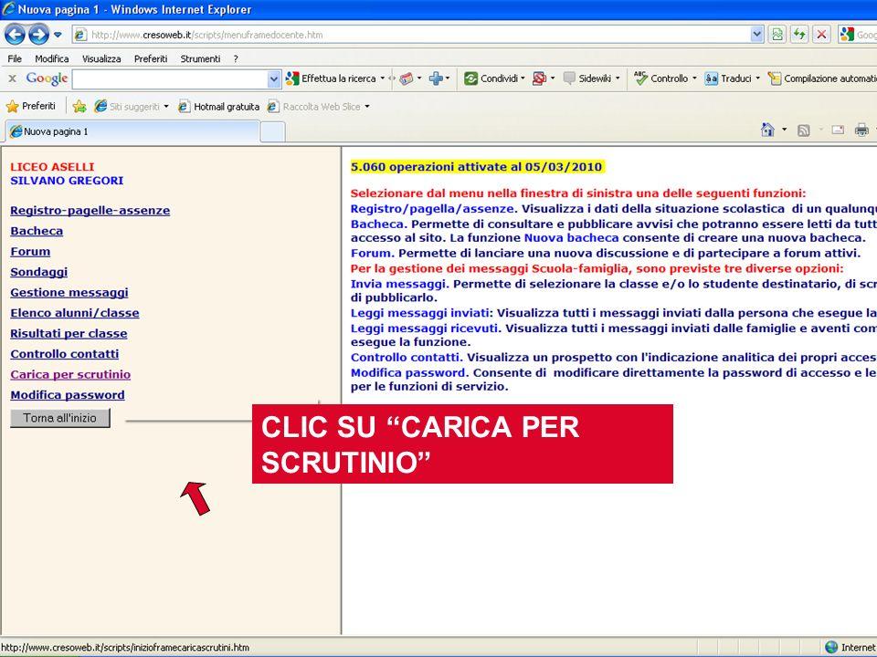 CLIC SU CARICA PER SCRUTINIO