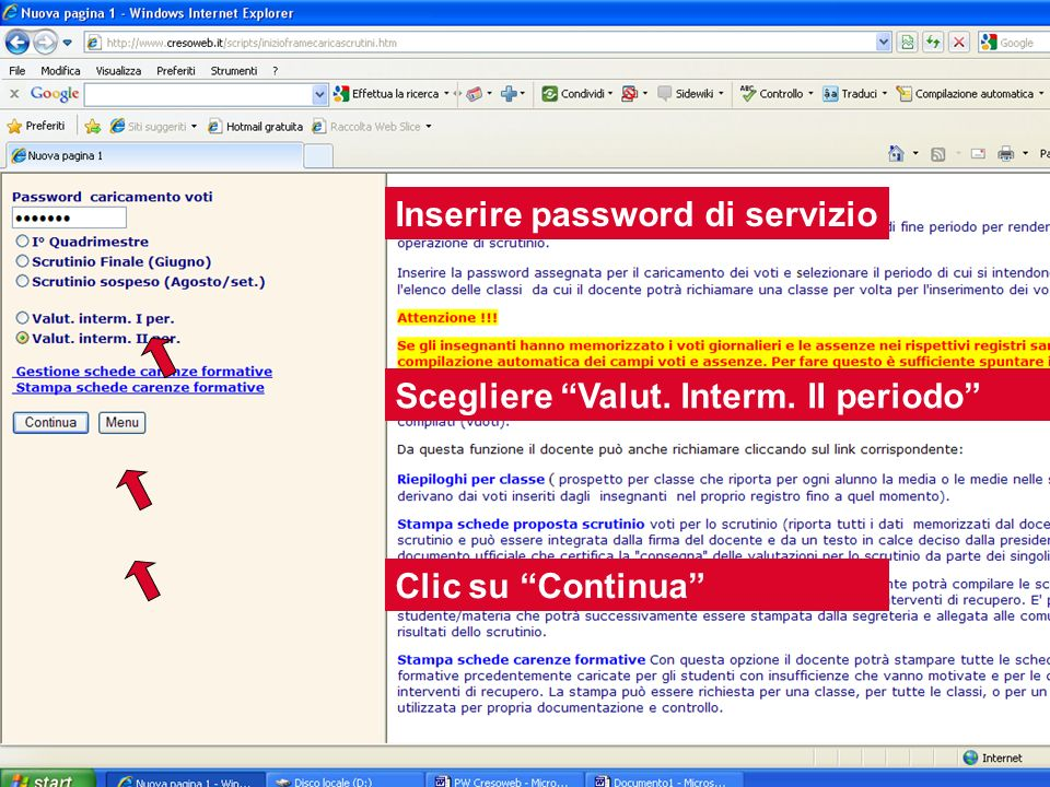 Inserire password di servizio
