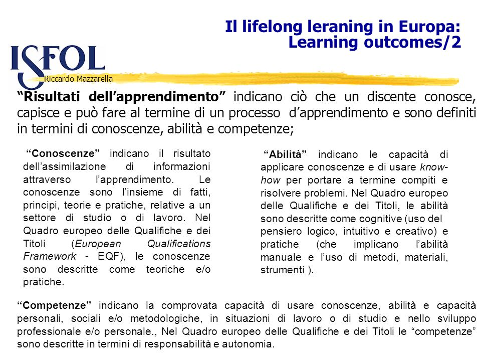Il lifelong leraning in Europa: Learning outcomes/2